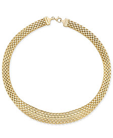 Italian Gold Graduated Bombay Bismarck Necklace in 14k Gold