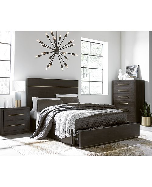 Cambridge Storage Platform Bedroom Furniture 3 Pc Set Full Bed Dresser Nightstand Created For Macy S