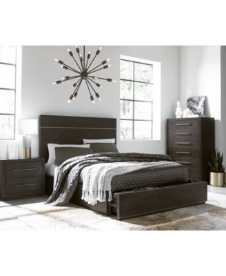 A Rich, Deep Tone Wire Brushed Finish Along With Antique Finish Bronze  Metal Accents Grace The Sharp Lines Of The Cambridge Storage Bedroom  Furniture ...