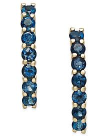 London Blue Topaz Linear Drop Earrings (1-1/2 ct. t.w.) in 14k Gold