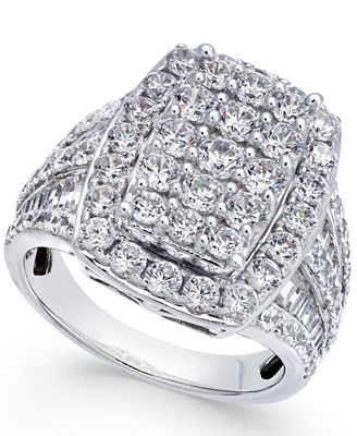 Diamond Rectangle Cluster Ring (3-1/3 ct. t.w.) in 14k White Gold