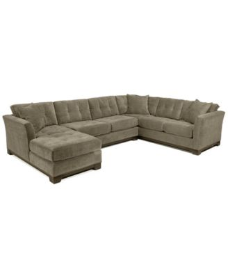 elliot 3pc microfiber sectional with full sleeper sofa u0026 chaise created for