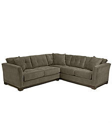 Elliot Fabric Microfiber 2-Piece Sectional Sofa, Created for Macy's