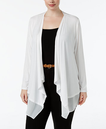Calvin Klein Plus Size Sheer-Hem Open-Front Cardigan - Sweaters ...