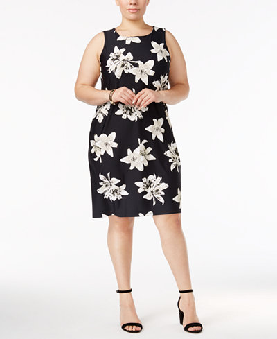 Charter Club Plus Size Lily-Print Sheath Dress, Created for Macy's