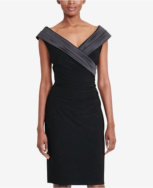 575a2cf18cc Lauren Ralph Lauren Satin-Collar Jersey Dress   Reviews - Dresses ...