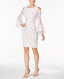 XSCAPE Cold-Shoulder Lace Sheath Dress, Regular & Petite Sizes