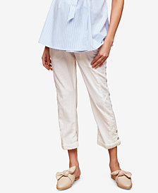 Motherhood Maternity Linen-Blend Cropped Pants