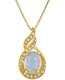Lab-Created Opal (1 ct. t.w.) and White Sapphire (1/5 ct. t.w.) Pendant Necklace in 14k Gold-Plated Sterling Silver