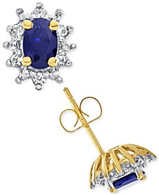 Lab-Created Blue Sapphire (1 ct. t.w.) and White Sapphire (1/5 ct. t.w.) Stud Earrings in 14k Gold-Plated Sterling Silver