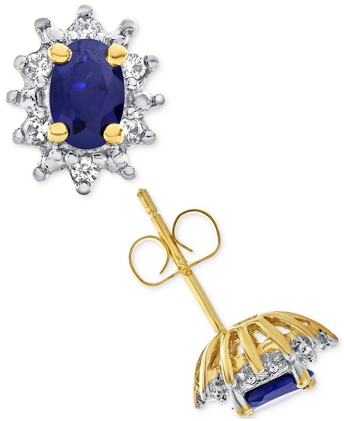 Macy's - Lab-Created Blue Sapphire (1 ct. t.w.) and White Sapphire (1/5 ct. t.w.) Stud Earrings in 14k Gold-Plated Sterling Silver
