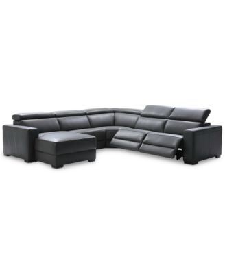 Nevio 5 Pc Leather Sectional Sofa With Chaise 2 Recliners And Articulating Headrests Created For Macy S