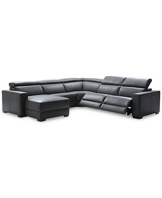 Furniture Nevio 5 Pc Leather Sectional Sofa With Chaise 2