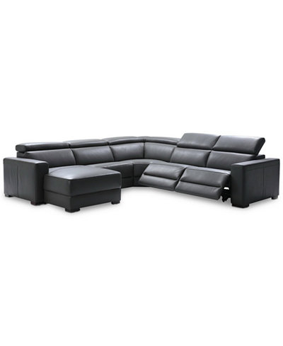 Nevio 5 Pc Leather Sectional Sofa With Chaise 2 Power Recliners And Articulating Headrests Created For Macy S Furniture Macy S