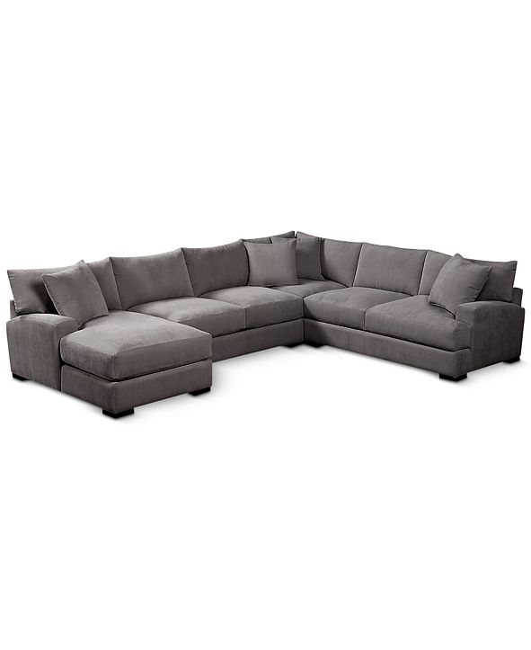 "Furniture Rhyder 4-Pc. 112"" Fabric Sectional Sofa with Chaise, Created for Macy's"
