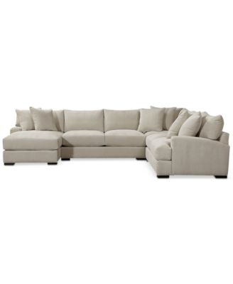 Teddy Fabric 4 Piece Chaise Sectional Sofa Furniture