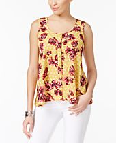 Style & Co Printed Sleeveless Blouse, Only at Macy's