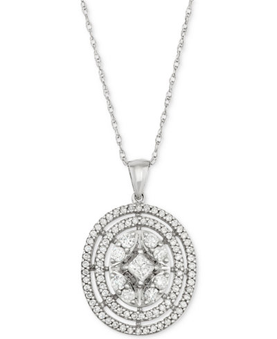Diamond Oval Cluster Pendant Necklace (1 ct. t.w.) in 14k White Gold