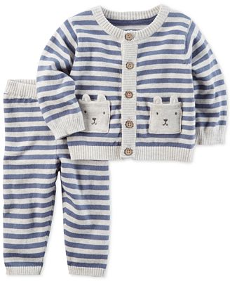 Carter's 2-Pc. Striped Bears Cotton Sweater & Pants Set, Baby Boys ...