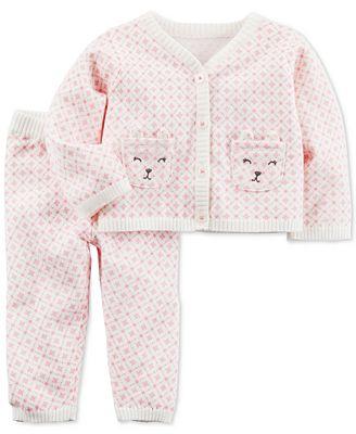 Carter's 2-Pc. Floral-Print Bears Cotton Sweater & Pants Set, Baby Girls