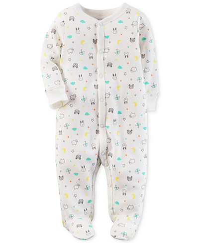 Carter's Baby Boys & Girls 1-Pc. Animal-Print Thermal Cotton Footed Coverall
