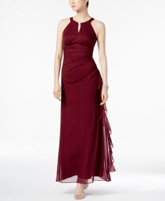 bu0026a by betsy and adam ruched halter gown