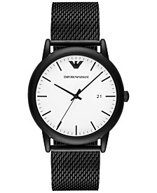 Men's Luigi Black Stainless Steel Mesh Bracelet Watch 43mm