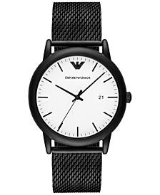 Men's Luigi Black Stainless Steel Mesh Bracelet Watch 43mm