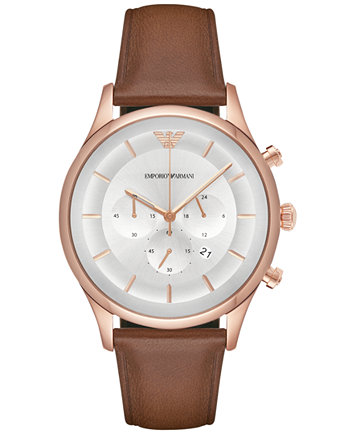 ff56c727ab6 Emporio Armani Men s Chronograph Lambda Brown Leather Strap Watch 43mm -  Watches - Jewelry   Watches - Macy s