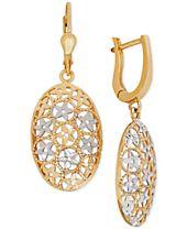 Two-Tone Filigree Drop Earrings in 10k Gold