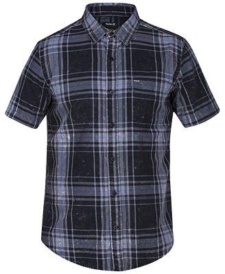 Hurley Men's Archer Short Sleeves Plaid Shirt - Casual Button-Down ...