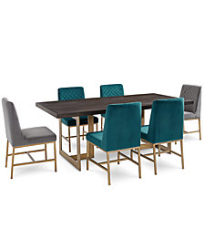 Cambridge Dining Furniture, 7-Pc. Set (Dining Table, 4 Teal Side Chairs & 2 Gray Side Chairs), Created for Macy's