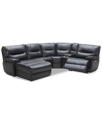 Image 1 Of Garraway 5 Pc. Leather Sectional Sofa With Chaise, 1 Power