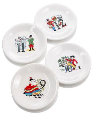 Twelve Days of Christmas Set of 4 Salad/Dessert Plates, Third Series in a Series of Three