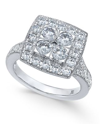 Diamond Square Halo Composite Engagement Ring (2 ct. t.w.) in 14k White Gold