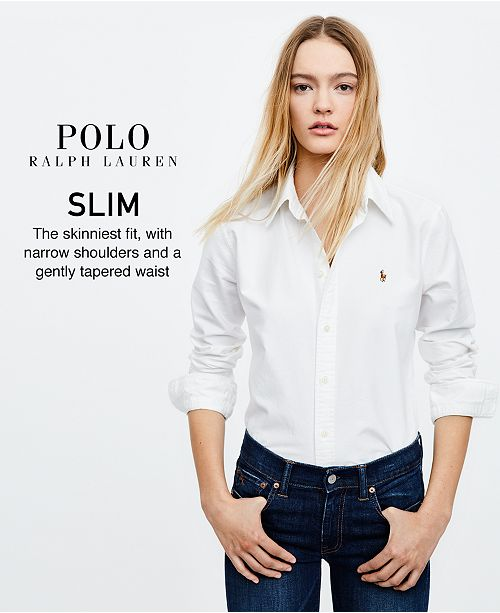 Polo Ralph Lauren Slim-Fit Cotton Chambray Shirt - Tops - Women - Macy s a7c863622b
