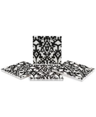 Samara Black Ikat 4-Pc. Coaster Set