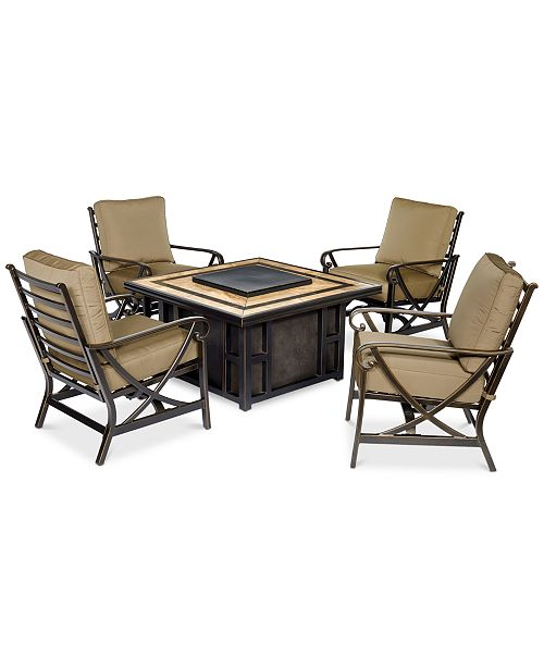 Furniture Wyndham Square Fire Pit Chat Set, Created for Macy's