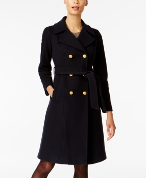Anne Klein  WOOL-CASHMERE BLEND BELTED TRENCH COAT