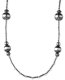 Multi-Bead Long Statement Necklace in Sterling Silver