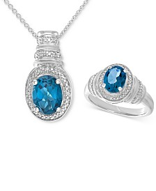 London Blue Topaz (3 ct. t.w.) & Diamond Accent Pendant Necklace and Matching Ring Set in Sterling Silver