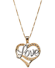 "Two-Tone ""Love"" Heart Pendant Necklace in 14k Gold & White Gold"