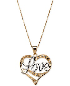 Heart necklace shop heart necklace macys two tone love heart pendant necklace in 14k gold mozeypictures Images