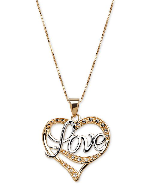 Italian Gold Two Tone Love Heart Pendant Necklace In 14k Gold