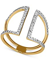 Two-Tone Textured Openwork Cuff Ring in 14k Gold