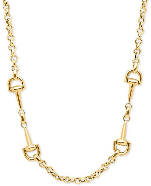 Macy's Double Handle Rolo Link Collar Necklace in 14k Gold