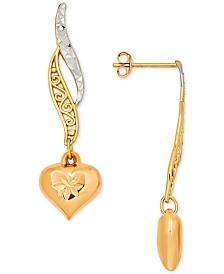 Multicolor Textured Filigree Heart Drop Earrings in 10k Gold & Rose Gold