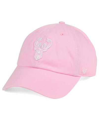 '47 Brand Women's Milwaukee Bucks Petal Pink CLEAN UP Cap