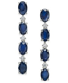 Blue Sapphire (4-3/4 ct. t.w.) & White Sapphire (1/5 ct. t.w.) Drop Earrings in Sterling Silver, Created for Macy's