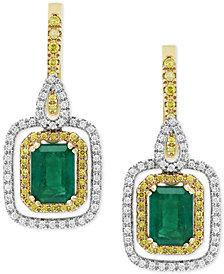 Final Call by EFFY® Emerald (1-9/10 ct. t.w.) & Diamond (5/8 ct t.w.) Drop Earrings in 14k Gold & White Gold